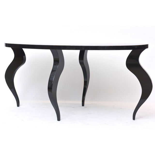 Lacquer Italian Modern Black Lacquer Center/Dining Table For Sale - Image 7 of 9