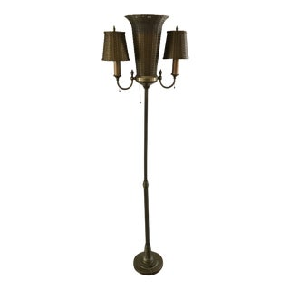 1930s John Vassos for Wirecraft Brass Floor Torchere Lamp With Woven Wire Shade For Sale