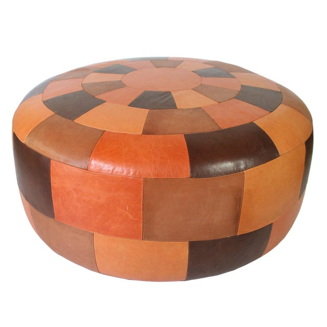 Oversized Vintage Patchwork Leather Ottoman For Sale In Los Angeles - Image 6 of 6