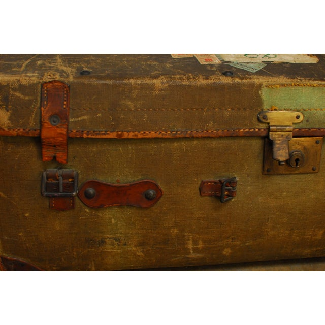 Antique Campaign Steamer Travel Trunk Luggage For Sale In San Francisco - Image 6 of 6