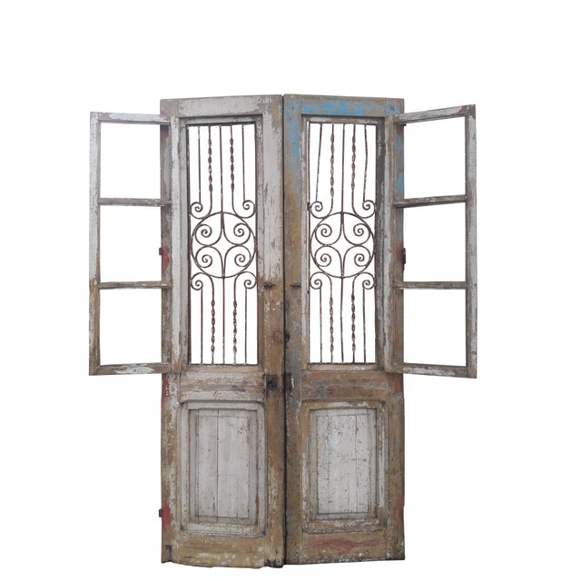 Antique French Iron Grill Door Rustic Farmhouse Natural Doors - a Pair For Sale - Image 5 of 11