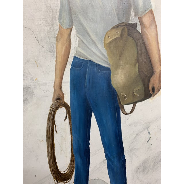 """Vintage """"Rock Climber"""" Oil on Canvas Painting For Sale In San Francisco - Image 6 of 9"""