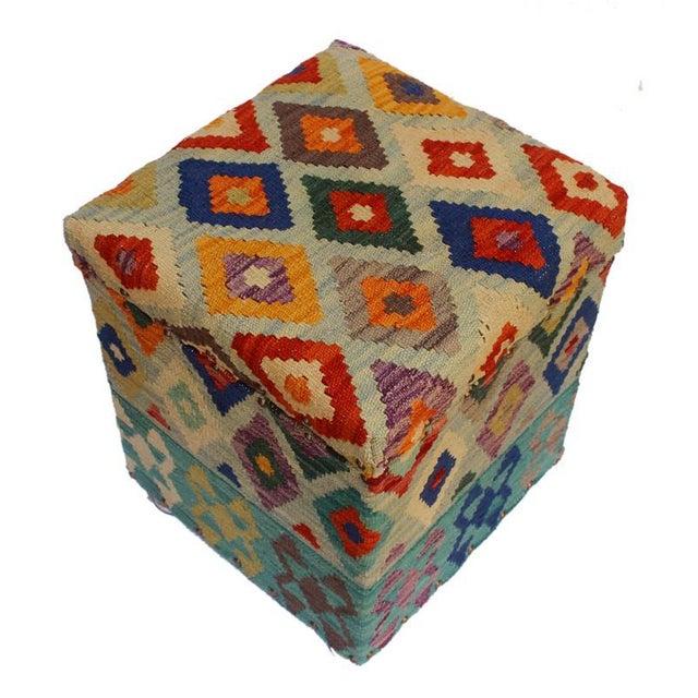 English Traditional Cristina Lt. Blue/Blue Kilim Upholstered Handmade Storage Ottoman For Sale - Image 3 of 8