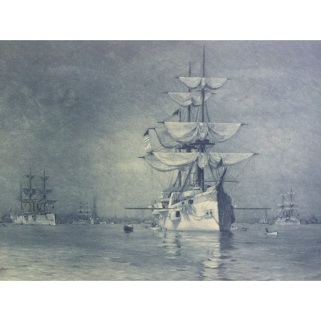 19th-C. Boston Harbor Nautical Photogravure - Image 3 of 6