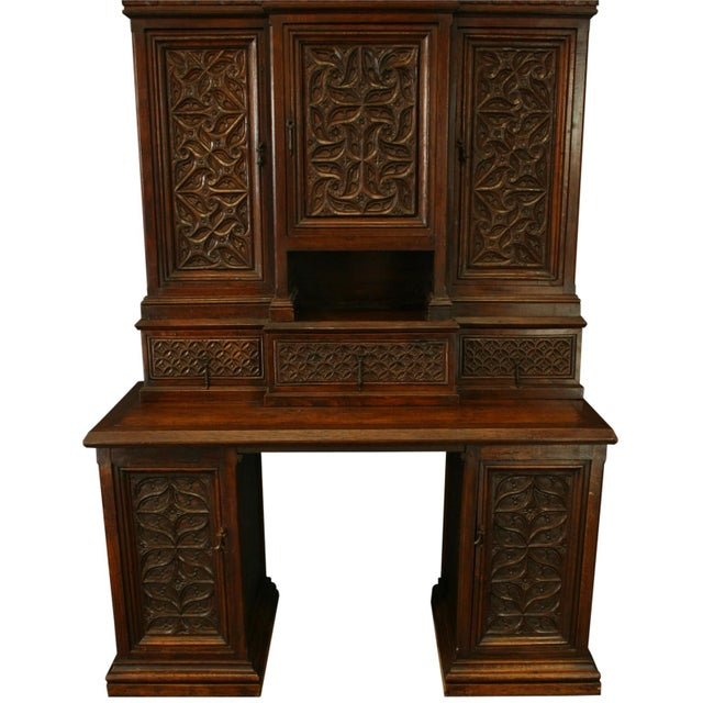 Heavily Carved Antique French Gothic Desk - Image 3 of 8