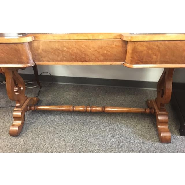 English Antique Beechwood Writing Table With Black Tooled Leather Top For Sale - Image 4 of 9