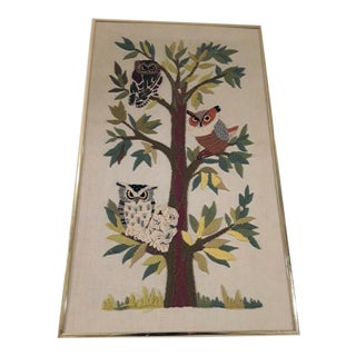 Mid-Century Owl Embroidered Wall Hanging