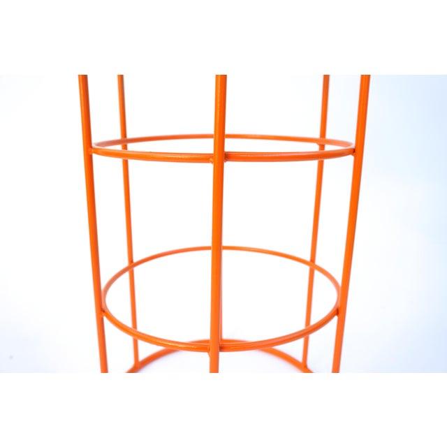 Carrara Marble & Orange Metal Fern Stand Pedestal Table - Image 8 of 11