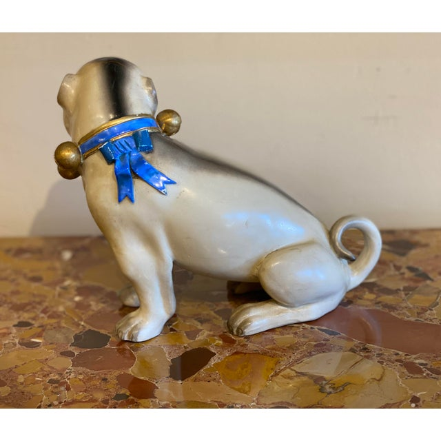 Ceramic Figurative Standing German Pug With Bell Collar For Sale - Image 7 of 9