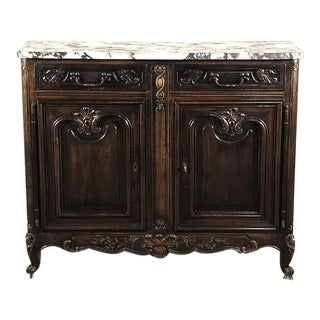 Early 20th Century Antique French Walnut Buffet, Louis XV Serpentine With Marble Top For Sale