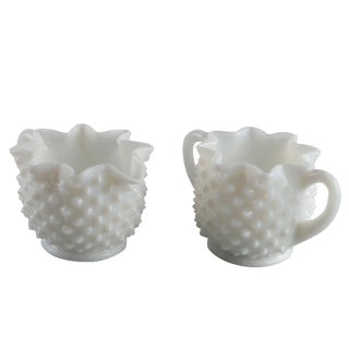 Hobnail Milk Glass Cream & Sugar Dish
