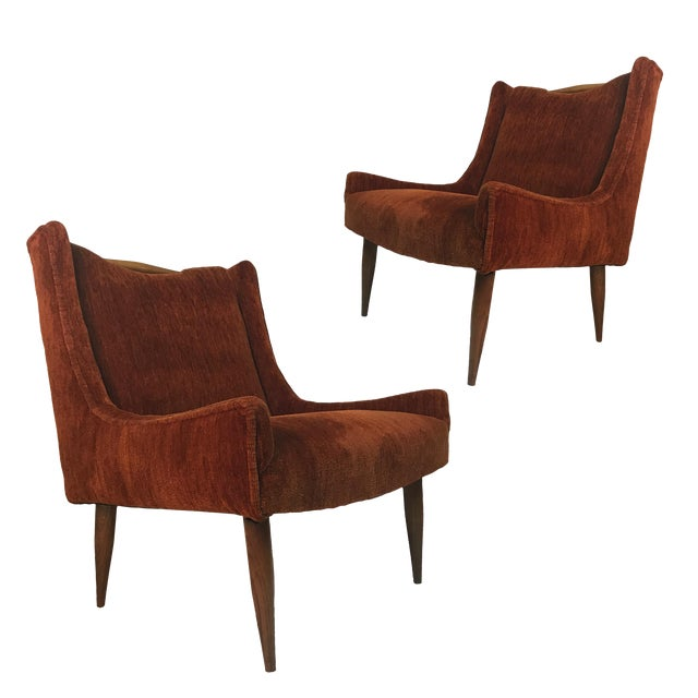 Sculptural Midcentury Harvey Probber Slipper Lounge Chairs with Walnut Detail For Sale