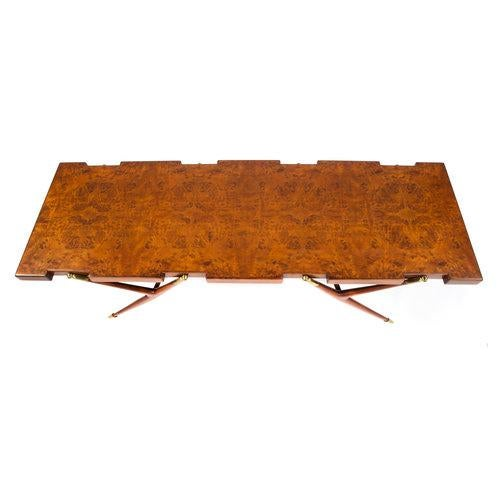 BURL WALNUT AND BRASS 1950S COFFEE TABLE BY ICO PARISI FOR SINGER AND SONS For Sale In New York - Image 6 of 8