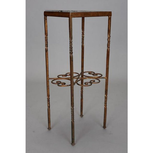 1920s Italian Gilt Iron Statue Stand With Marble Top For Sale - Image 5 of 6