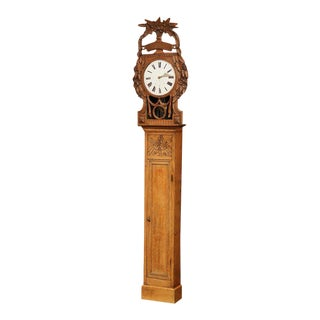 19th Century French Carved Oak Saint Nicholas Grandfather Clock From Normandy