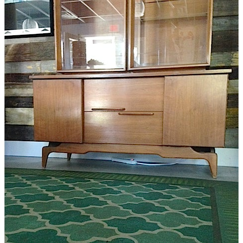 Mid-Century Etched Doors Teak Hutch Cabinet - Image 6 of 10