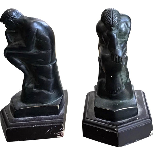 """Rodin's """"The Thinker"""" Bookends - A Pair - Image 1 of 4"""