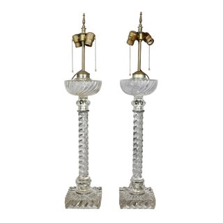 Pair of Baccarat Style Crystal Lamps For Sale