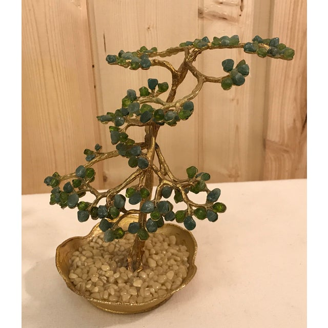Mid-Century Modern Agate Bonsai Tree in Gold Dish - Image 4 of 10
