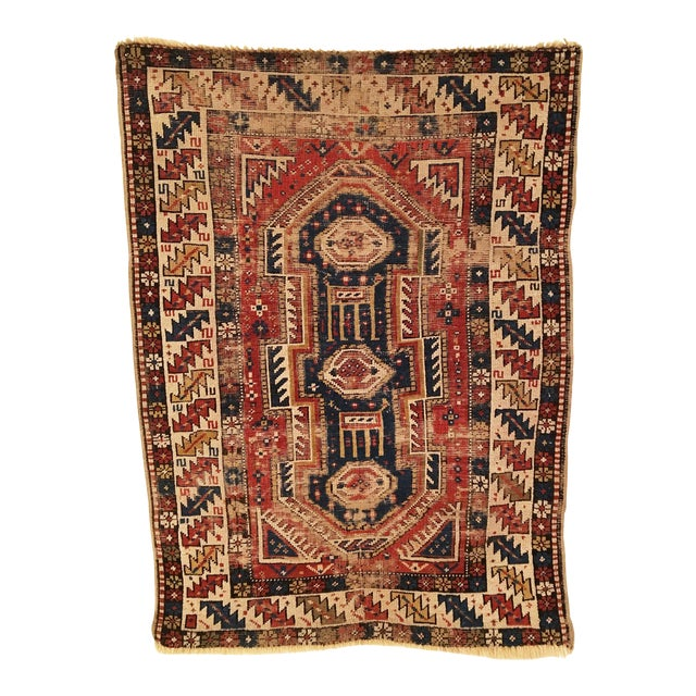 Late 19th Century Antique Caucasian Shirvan Distressed Small Rug 3'4 X 4'6 For Sale