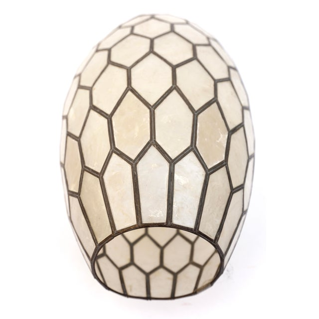 Metal Large Vintage Bohemian Glam Capiz Shell Lampshade   Mid-Century Bullet Shape Lamp Shade   Chic Statement Lighting For Sale - Image 7 of 13