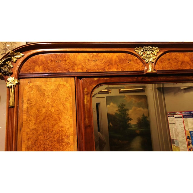Art Deco Antique ART NOUVEAU 19th/20th C FRENCH Walnut Satin Inlay BRONZE Mounted MIRROR ARMOIRE For Sale - Image 3 of 10