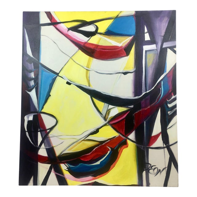 Deon Robertson Abstract Jazz Swing Oil on Canvas For Sale
