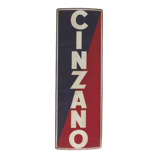 Vintage Cinzano Vermouth Porcelain Advertising Sign, Italy For Sale