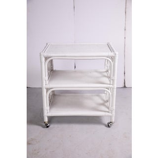 1960s Hollywood Regency White Rattan 3 Tier Bar Cart Preview