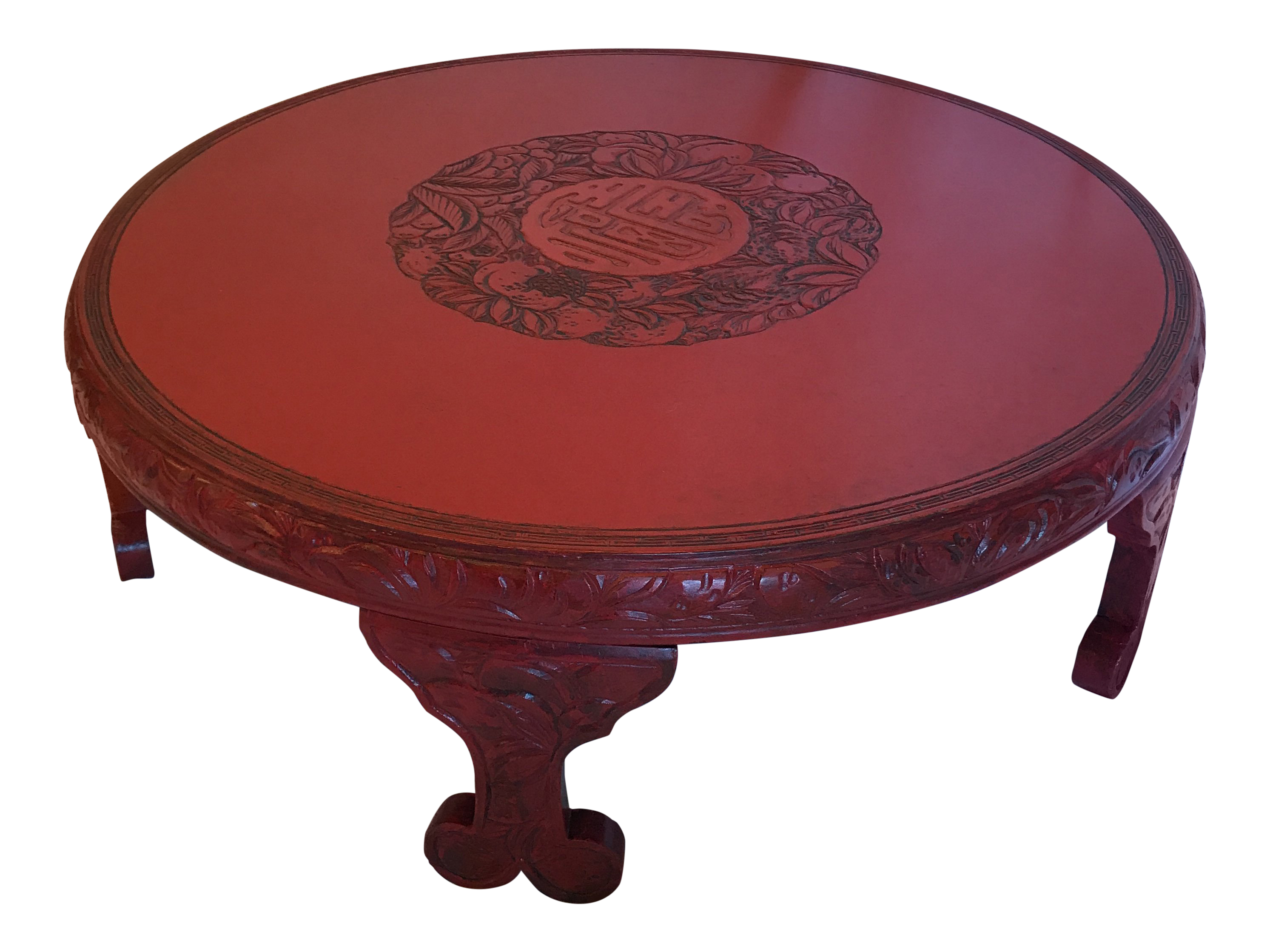 Round Red Lacquered Ming Style Coffee Table