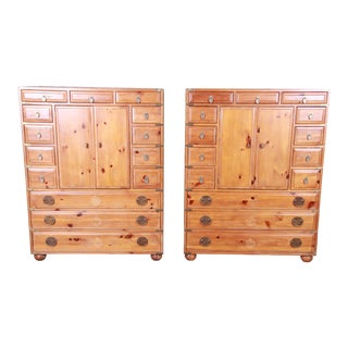 Henredon Solid Pine 14-Drawer Japanese Tansu Chests of Drawers, Pair For Sale