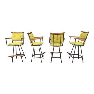 Mid-Century Modern Oak & Iron Swivel Bar Stools - Set of 4