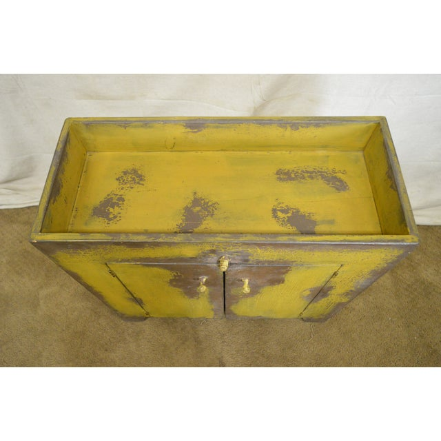 Primitive Distressed Painted Country Small Dry Sink Cabinet For Sale - Image 10 of 11