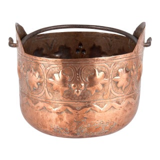French Copper Cauldron With Forged Iron Handle For Sale