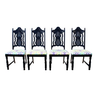 American Made Black Cane Dining Chairs with Colorful Easy Clean Seats - Set of 4 For Sale