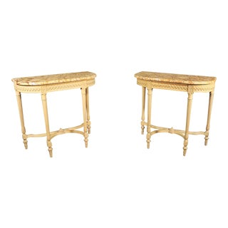 Creme Maison Jansen Carved Marble Top Demilune Console Tables - a Pair For Sale