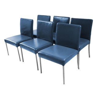 Modern Leather Armless Side Dining Chairs - Set of 6 For Sale