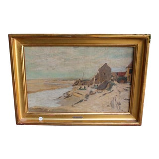 Framed French Landscape Oil Painting on Canvas For Sale