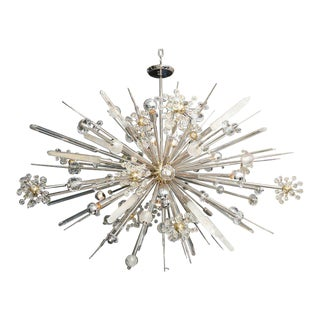 Custom Rock Crystal and Austrian Crystal Sputnik Chandelier For Sale