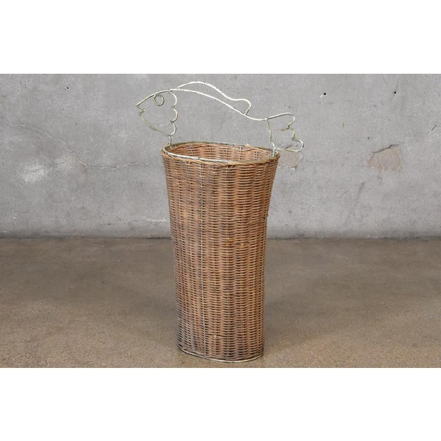 1950s Frederick Weinberg Style Rattan Fish Basket For Sale - Image 5 of 5