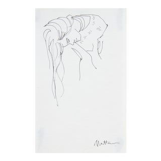 """Late 20th Century """"Woman With Long Hair"""" Ink Drawing"""