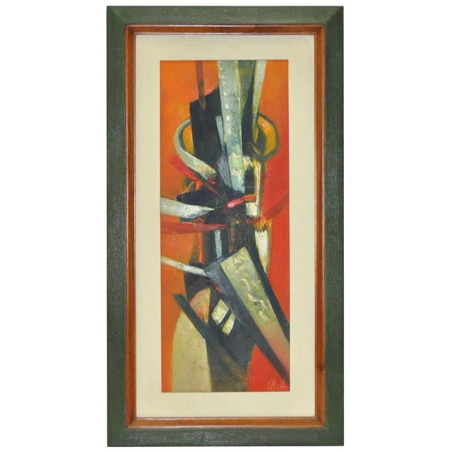 Mid 20th Century 1960's Ulatto Mid Modern Abstract Painting For Sale - Image 5 of 5