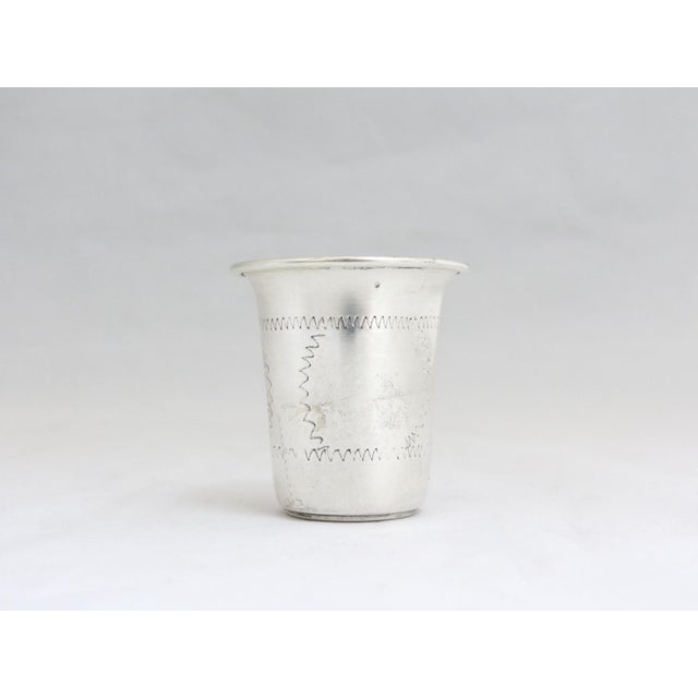 "ESCO (Eastern Silver Company Sterling Kiddush Cup/Jigger - 2""H x 1 3/4""W . Etched with modern patterns all around."