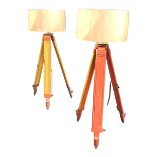 Repurposed Surveyor Tripod Standing Lamps - A Pair For Sale
