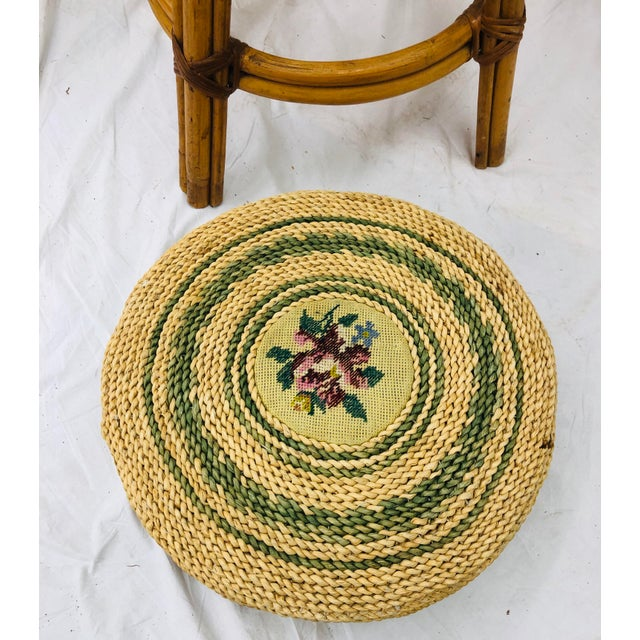 Set Vintage Bamboo & Wicker Stools For Sale - Image 9 of 11
