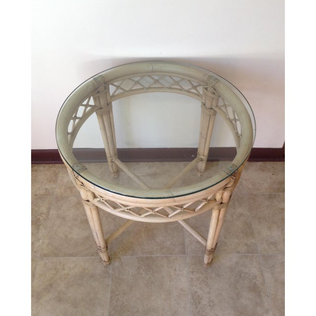 Ficks Reed Lattice Rattan Round Table - Image 4 of 5