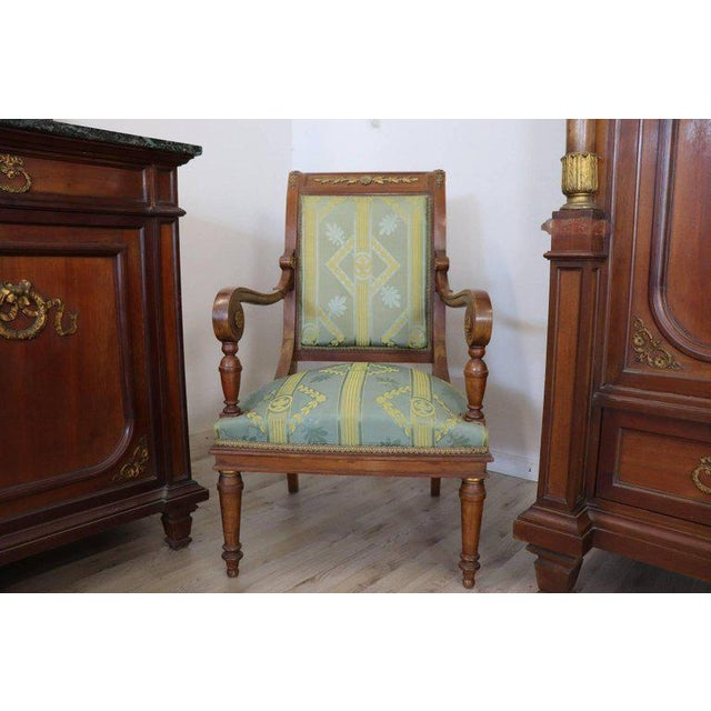 19th Century Italian Empire Mahogany Golden Bronzes Green Marbles Bedroom Set For Sale - Image 12 of 13