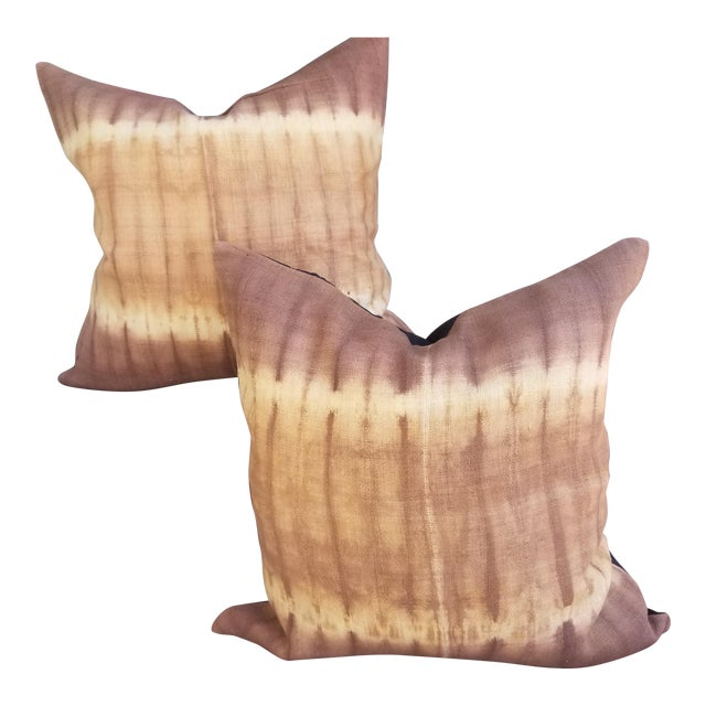 Hand Woevn Tie Dye Pillow - a Pair For Sale