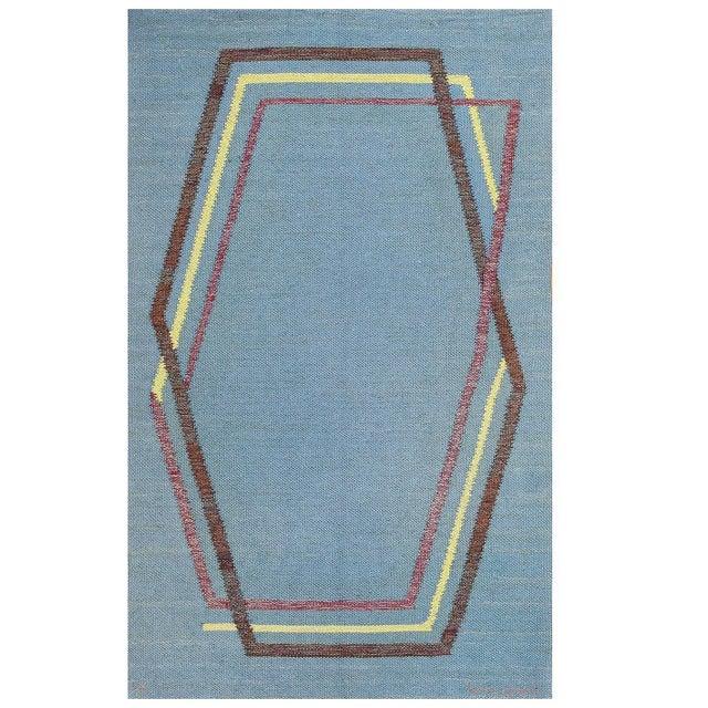 Textile Vintage Swedish Kilim Rug by Brita Grahn For Sale - Image 7 of 7