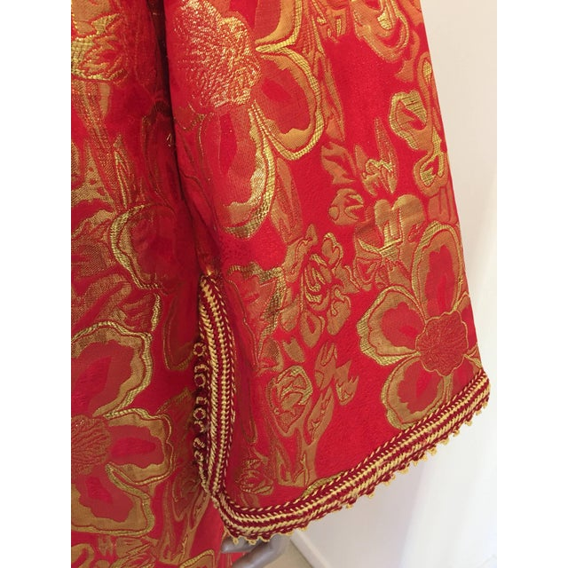 Vintage 1970s Moroccan Kaftan Red and Gold Floral Brocade Caftan Maxi Dress For Sale - Image 4 of 9